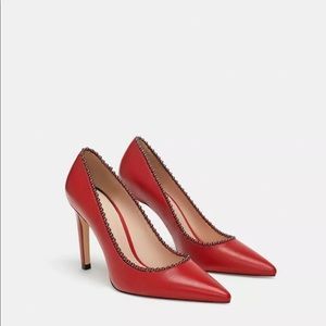 ZARA Leather Red Beaded Leather Pumps 1224/301